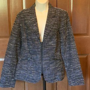 CAbi Mingle Midnight Tweed Zipper Front Blazer